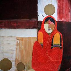 pot series indian woman, 24 x 24 inch, siddharth  katragadda,figurative paintings,paintings for living room,canvas,acrylic color,24x24inch,GAL034668266