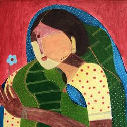 flower series indian woman, 24 x 24 inch, siddharth  katragadda,figurative paintings,paintings for living room,canvas,acrylic color,24x24inch,GAL034668268