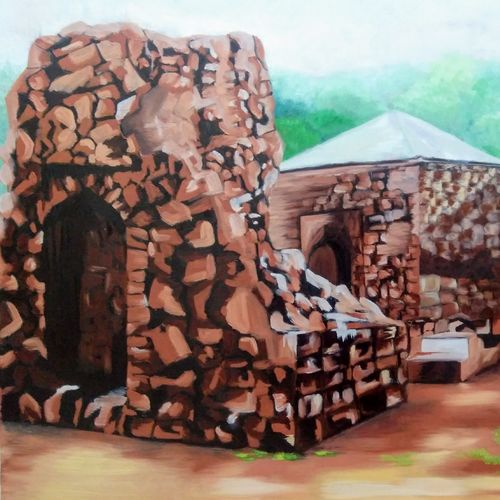 ruins of firozabad delhi, 30 x 20 inch, dipali deshpande,paintings,landscape paintings,paintings for living room,canvas,oil,30x20inch,GAL01638269