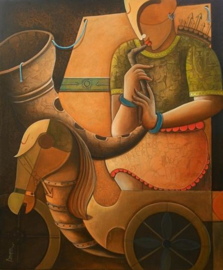 parthasarathi 5, 36 x 42 inch, anupam  pal,abstract paintings,paintings for living room,love paintings,canvas,acrylic color,36x42inch,GAL082828