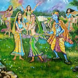 radha & krishna playing holi at vrindavan, 36 x 30 inch, herendra swarup,paintings for living room,radha krishna paintings,canvas,oil,36x30inch,GAL034698290,radha,krishna,love,happy,holi,color,lordkrishna,lordradha,radhakrishna
