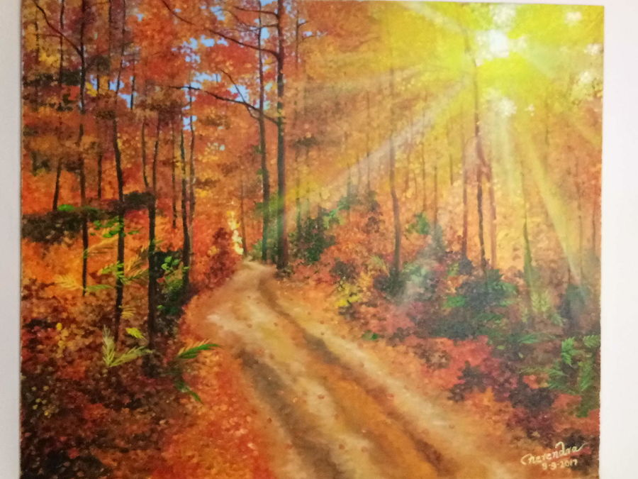 golden dawn, 36 x 30 inch, herendra swarup,landscape paintings,paintings for office,canvas,oil,36x30inch,GAL034698291
