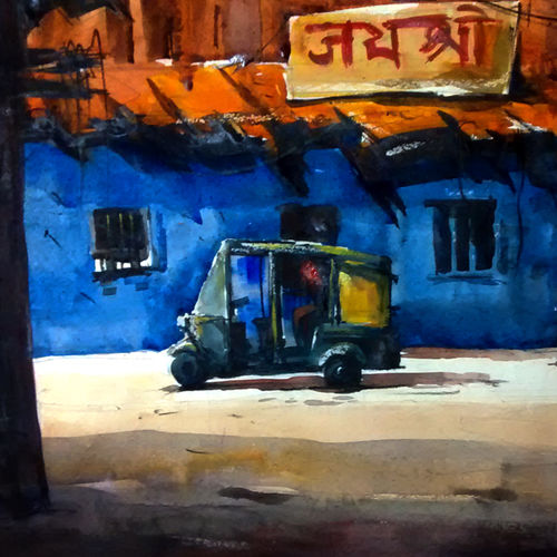 blue hotel rajasthan, 21 x 15 inch, sankar thakur,landscape paintings,paintings for living room,fabriano sheet,watercolor,21x15inch,GAL0783