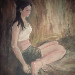 figure, 16 x 20 inch, arpita  pramanick,paintings,figurative paintings,paintings for bedroom,canvas,oil,16x20inch,GAL034328311