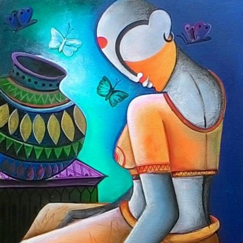 a little conversation, 25 x 28 inch, anupam  pal,abstract paintings,paintings for living room,canvas,acrylic color,25x28inch,GAL082832