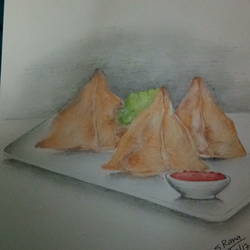 samosa a fast food, 8 x 12 inch, sandeep  rana,drawings,conceptual drawings,paintings for dining room,paper,poster color,8x12inch,GAL033878329