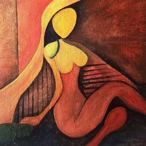 a women alone, 10 x 8 inch, nikunj singh,paintings,abstract paintings,paintings for living room,canvas,watercolor,10x8inch,GAL034928334