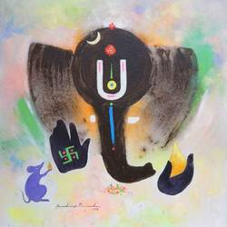lord ganesha, 11 x 11 inch, sandeep rawal ,ganesha paintings,paintings for dining room,square,canvas,acrylic color,11x11inch,GAL025118353,vinayak,ekadanta,ganpati,lambodar,peace,devotion,religious,lord ganesha,lordganpati,ganpati bappa morya,ganesh chaturthi,ganesh murti,elephant god,religious,lord ganesh,ganesha,om,hindu god,shiv parvati, putra,bhakti,blessings,aashirwad,pooja,puja,aarti,ekdant,vakratunda,lambodara,bhalchandra,gajanan,vinayak,prathamesh,vignesh,heramba,siddhivinayak,mahaganpati,omkar,mushak,mouse,ladoo,modak