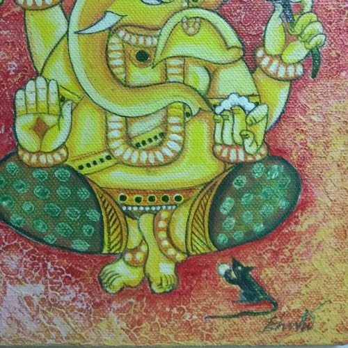 lord ganesh, 8 x 6 inch, bharathi kumar,paintings,modern art paintings,paintings for living room,canvas,acrylic color,8x6inch,GAL035018354