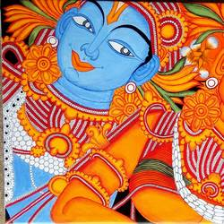 mural, 34 x 24 inch, andriya mathew,paintings for bedroom,radha krishna paintings,kerala murals painting,canvas,acrylic color,34x24inch,GAL035038355,radhakrishna,love,pece,lordkrishna,lordradha,peace,radha,krishna,devotion,couple