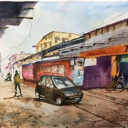 hatibagan point, 28 x 21 inch, dipankar  biswas,paintings,cityscape paintings,paintings for living room,handmade paper,watercolor,28x21inch,GAL029328357