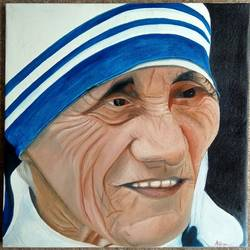 mother theresa, 23 x 23 inch, andriya mathew,religious paintings,paintings for living room,mother teresa paintings,canvas,oil,23x23inch,GAL035038359