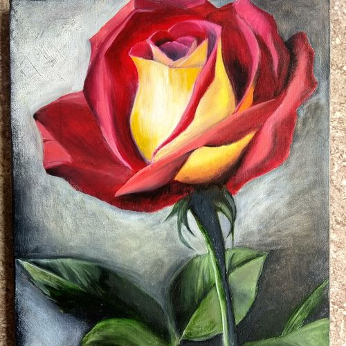 flower, 12 x 16 inch, andriya mathew,flower paintings,paintings for living room,canvas,oil,12x16inch,GAL035038362