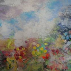 kaas pathar - flower valley - abstract, 24 x 32 inch, amita dand,abstract paintings,paintings for living room,canvas,acrylic color,24x32inch,GAL014678363