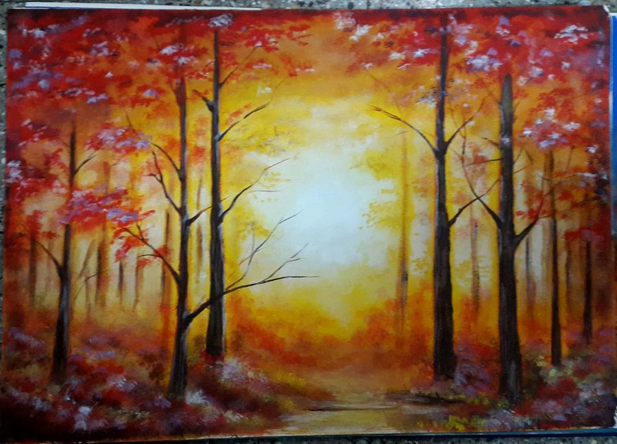 nature forest red, 20 x 14 inch, kaushik banerjee,nature paintings,paintings for living room,thick paper,acrylic color,20x14inch,GAL035058365Nature,environment,Beauty,scenery,greenery