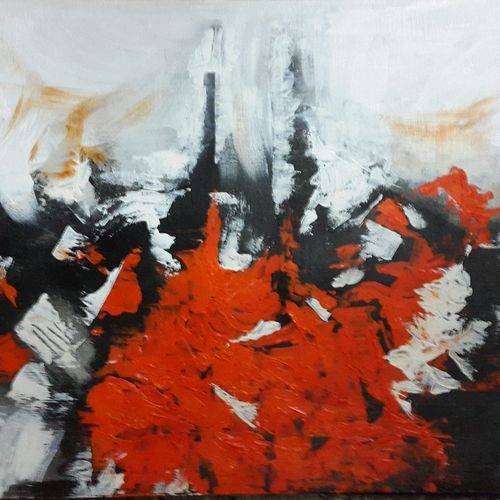 red black and white abstract expression of emotions, 20 x 14 inch, kaushik banerjee,abstract paintings,paintings for living room,thick paper,acrylic color,20x14inch,GAL035058367
