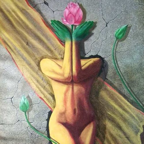 the lotus lady, 26 x 32 inch, jacob philip,figurative paintings,paintings for bedroom,canvas,acrylic color,26x32inch,GAL022448368