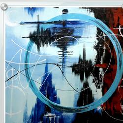 blue abstract- lens, 20 x 14 inch, kaushik banerjee,abstract paintings,paintings for office,thick paper,acrylic color,20x14inch,GAL035058372