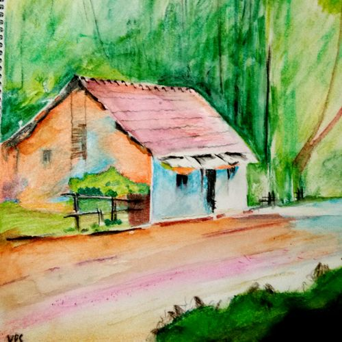, 16 x 18 inch, vp singh,paintings,landscape paintings,paintings for living room,cartridge paper,mixed media,16x18inch,GAL024888374