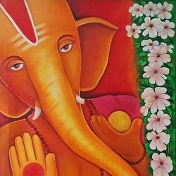 ganesha  with flowers, 28 x 35 inch, a.b.  kaser,ganesha paintings,paintings for living room,canvas,acrylic color,28x35inch,GAL06368378,vinayak,ekadanta,ganpati,lambodar,peace,devotion,religious,lord ganesha,lordganpati