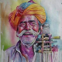 a smile is showing in face of art, 23 x 15 inch, khannan  chithralaya ,paintings,realistic paintings,paintings for office,handmade paper,watercolor,23x15inch,GAL035178391