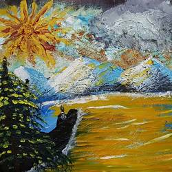 carpet for the sun, 12 x 16 inch, shishir rattan,paintings,landscape paintings,paintings for living room,canvas,mixed media,12x16inch,GAL035238393