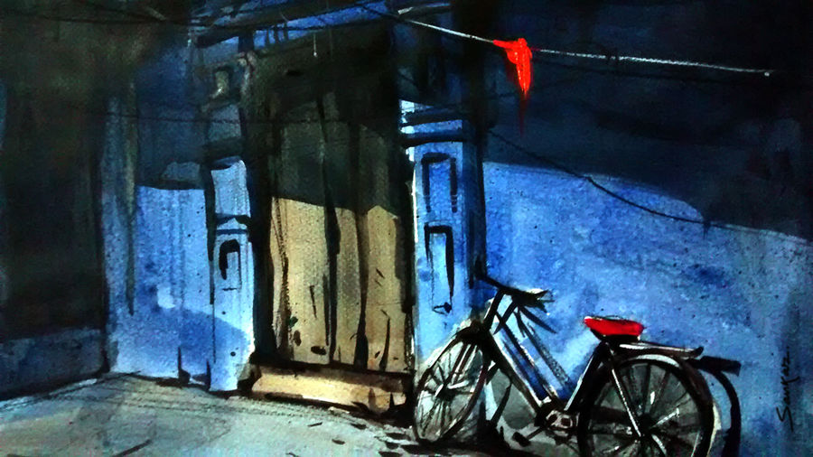 blue house, 21 x 15 inch, sankar thakur,landscape paintings,paintings for living room,fabriano sheet,watercolor,21x15inch,GAL0784