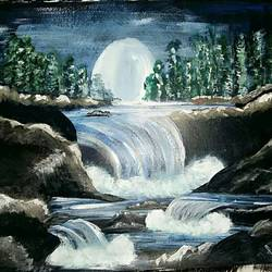 moonlit cascade (framed), 16 x 12 inch, neha anand,paintings for living room,nature paintings,drawing paper,acrylic color,16x12inch,GAL034948400Nature,environment,Beauty,scenery,greenery