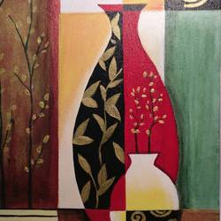 vases - modern art depiction, 12 x 16 inch, neha anand,modern art paintings,paintings for living room,canvas,acrylic color,12x16inch,GAL034948401