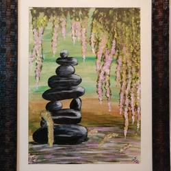 zen garden (framed), 12 x 16 inch, neha anand,nature paintings,paintings for living room,drawing paper,acrylic color,12x16inch,GAL034948403Nature,environment,Beauty,scenery,greenery