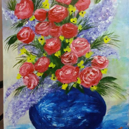 flowers in vase, 15 x 22 inch, krishna mandal khan,paintings,flower paintings,paintings for dining room,canvas,acrylic color,15x22inch,GAL035258404