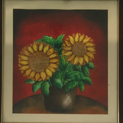 sunflower, 22 x 26 inch, harini  suresh,flower paintings,paintings for living room,thick paper,poster color,22x26inch,GAL035168417