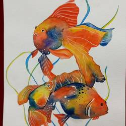 fishy, 8 x 12 inch, khyati vaidya,animal paintings,paintings for bedroom,thick paper,watercolor,8x12inch,GAL027098418