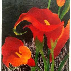 beautiful flowers, 5 x 8 inch, khyati vaidya,nature paintings,paintings for living room,canvas,pastel color,5x8inch,GAL027098421Nature,environment,Beauty,scenery,greenery