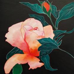 rose, 8 x 12 inch, khyati vaidya,nature paintings,paintings for living room,brustro watercolor paper,watercolor,8x12inch,GAL027098422Nature,environment,Beauty,scenery,greenery