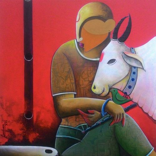 in a conversation, 36 x 42 inch, anupam  pal,paintings for living room,canvas,acrylic color,36x42inch,GAL082844