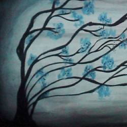 beautiful tree with blue leaf, 12 x 24 inch, shreya shinde,abstract paintings,paintings for living room,paper,poster color,12x24inch,GAL035588445
