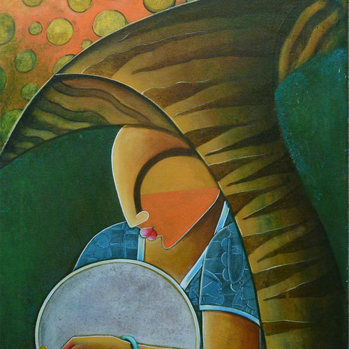 the troubadour, 24 x 48 inch, anupam  pal,paintings for living room,figurative paintings,canvas,acrylic color,24x48inch,GAL082845