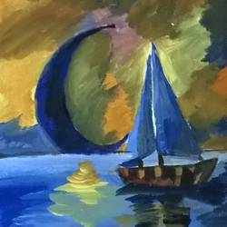 kayak , 12 x 16 inch, miss ratul banerjee,paintings,abstract paintings,paintings for living room,canvas,acrylic color,12x16inch,GAL035648451