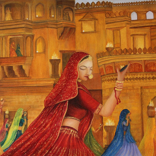 royal folk dancers, 24 x 16 inch, goutami mishra,figurative paintings,paintings for living room,canvas,oil,24x16inch,GAL04658454