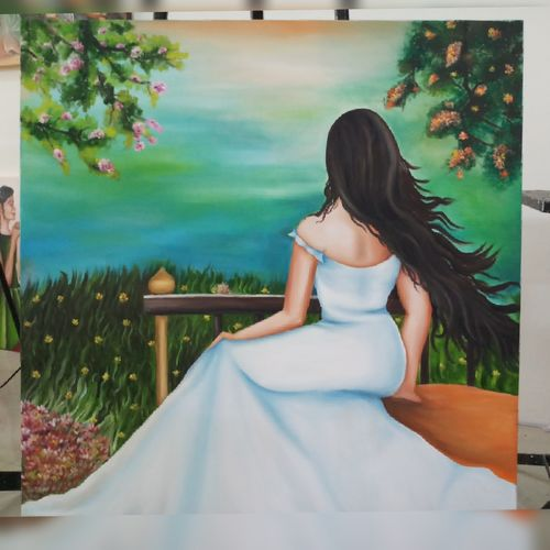 beauty, 3 x 3 inch, shruti  dhara,paintings,figurative paintings,paintings for living room,canvas,oil,3x3inch,GAL035688455