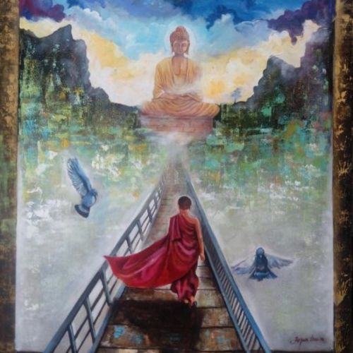 buddha and monk , 48 x 36 inch, arjun das,paintings for living room,buddha paintings,canvas,acrylic color,48x36inch,religious,peace,meditation,meditating,gautam,goutam,buddha,monk,birds,mountains,GAL0112846