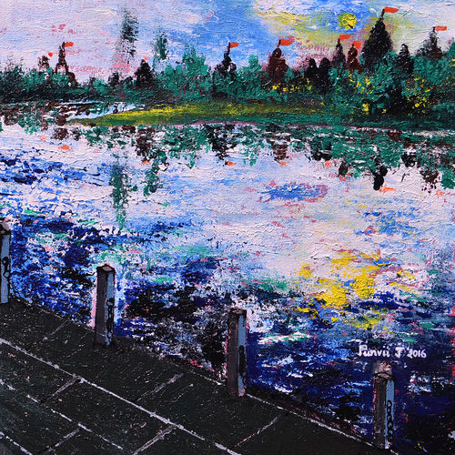 ghats in afternoon, 16 x 12 inch, purvii parekh,portraiture,paintings for living room,paintings,landscape paintings,paintings for dining room,paintings for bedroom,paintings for office,paintings for kids room,paintings for hotel,paintings for kitchen,canvas board,acrylic color,16x12inch,GAL034008460