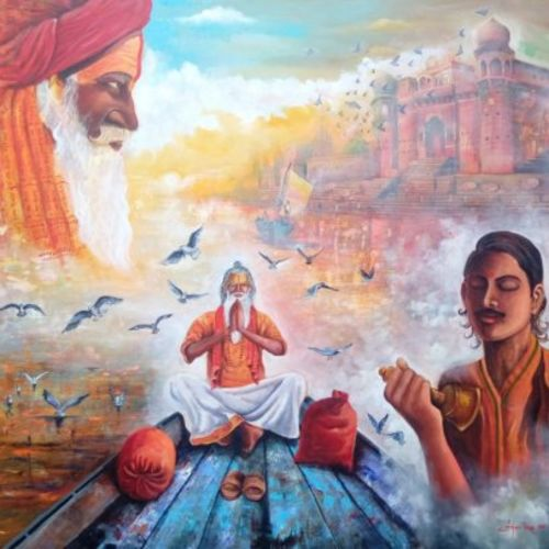 banaras ghat with flying bird, 60 x 60 inch, arjun das,religious paintings,paintings for living room,canvas,acrylic color,60x60inch,GAL0112847