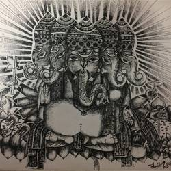 ganesha, 14 x 12 inch, chandrani bhakat,abstract drawings,paintings for dining room,ganesha paintings,paper,pen color,14x12inch,GAL035798476,vinayak,ekadanta,ganpati,lambodar,peace,devotion,religious,lord ganesha,lordganpati,ganpati bappa morya,ganesh chaturthi,ganesh murti,elephant god,religious,lord ganesh,ganesha,om,hindu god,shiv parvati, putra,bhakti,blessings,aashirwad,pooja,puja,aarti,ekdant,vakratunda,lambodara,bhalchandra,gajanan,vinayak,prathamesh,vignesh,heramba,siddhivinayak,mahaganpati,omkar,mushak,mouse,ladoo,modak