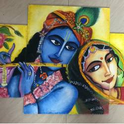 radhakrishna, 24 x 18 inch, chandrani bhakat,religious paintings,paintings for dining room,radha krishna paintings,canvas,oil,24x18inch,GAL035798477,lord,radha,krishna,love,flute,music,lordkrishna