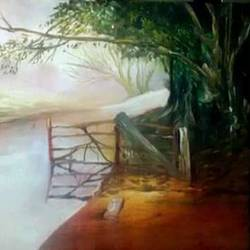scenery, 12 x 8 inch, andriya mathew,nature paintings,paintings for living room,canvas,oil,12x8inch,GAL035038479Nature,environment,Beauty,scenery,greenery,tree,water