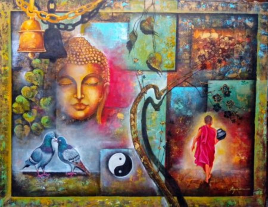 peaceful buddha and monk, 54 x 42 inch, arjun das,buddha paintings,paintings for living room,paintings,canvas,acrylic color,54x42inch,GAL0112848