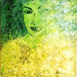 abstract female portrait, 12 x 16 inch, andriya mathew,abstract paintings,paintings for bedroom,canvas,acrylic color,12x16inch,GAL035038480