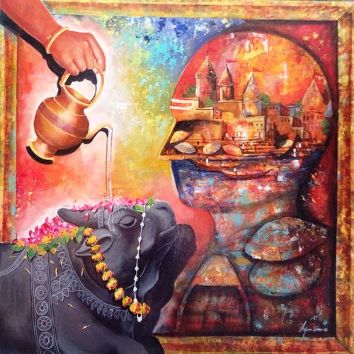 banaras ghat with lord shiva , 36 x 36 inch, arjun das,paintings for living room,lord shiva paintings,canvas,acrylic color,36x36inch,GAL0112849